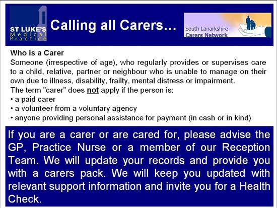 Calling all carers...